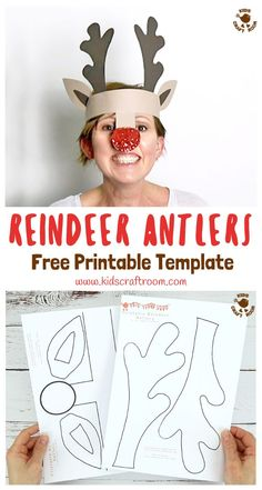 Make fun Reindeer Antler Hats with the free printable template. Kids can colour it in or trace round it onto coloured paper. A fun Christmas card for kids and grown-ups. Everyone will enjoy this easy reindeer craft! #reindeer #reindeercrafts #reindeerantlers #christmas #christmascrafts #christmashats #hats #headband #kidscraftroom #kidscrafts #antlers #printables #papercrafts #free #freeprintables