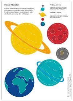 Planeten Zum Prickeln Bastelbogen Mit Planeten Zum Prickeln Eines Mobiles Passend Zum Bastelbogen W Bastelbogen Planeten Kunstlerische Aktivitaten Fur Kinder
