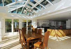 View images of our contemporary orangeries and timber kitchen extensions Kitchen Dining Living, Kitchen Family Rooms, Living Room, Kitchen Extension Inspiration, Extension Ideas, Extension Google, Conservatory Prices, Kitchen Orangery, Kitchen Images