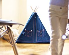 Excited to share the latest addition to my #etsy shop: Denim pet teepee with poles and mat, dog teepee, cat teepee, dog house, cat house, dog bed, cat bed, cat collar, pet tent, pet tipi Cat Teepee, Kids Teepee Tent, House Dog, Cat Collars, Play Houses, Dog Bed, Outdoor Gear, Etsy Shop, Denim