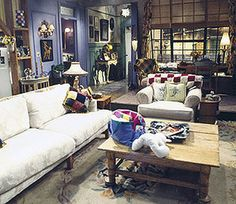 The living room in the Friends apartment used colors similar to Benjamin Moore aeduction 1399, seattle gray 2130-70, aloe vera 844.
