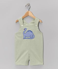 Take a look at this Green Plaid Dinosaur Shortalls - Infant & Toddler on zulily today!