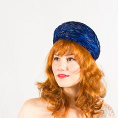 1950s vintage hat / feather pillbox / Shades of Blue on Etsy, $35.00