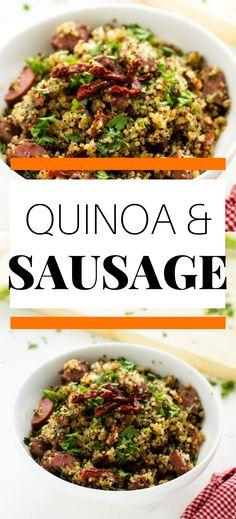 Quinoa and Sausage is an easy dinner that you can easily tackle any night of the week. Quinoa gets an unexpected boost of flavor from onion, sun-dried tomatoes, and garlic when it is all cooked together in a flavorful broth. This simple recipe is sure to gain a spot in your dinnertime rotation. Best Quinoa Recipes, Healthy Gluten Free Recipes, Easy Weeknight Meals, Easy Meals, Quinoa Pasta, Green Beans With Bacon, Asparagus Fries, Cooking Together, Dried Tomatoes