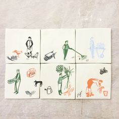 My first, unfinished ceramic tiles. Polly fern