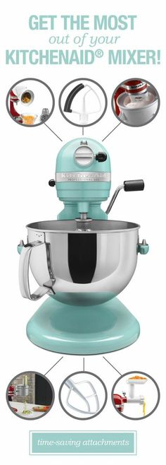 Check out these fabulous mixer gadgets! We bought a KitchenAid mixer 30 years ago and recently purchased some of the new attachments.