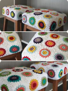 Crochet granny square stool covers I have granny squares my grandmother made. I see a project in my future. Crochet Diy, Crochet Motifs, Crochet Home Decor, Crochet Mandala, Crochet Squares, Love Crochet, Crochet Granny, Granny Squares, Mandala Pattern
