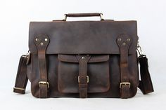 Men Briefcases Laptop Bag Vintage Style Cross Body Messenger Bag Cowhide Leather New Arrival 7200
