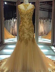 Evento Formal Vestido Sereia Decorado com Bijuteria Cauda Corte Renda / Tule com…