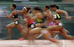 Runners compete in the semi finals on the women's 100m at the U.S. Olympic Track and Field Trials Saturday, June 23, 2012, in Eugene, Ore.