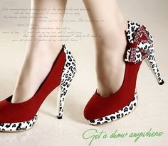 Red Suade Leapard and Bow High Heel Shoes by