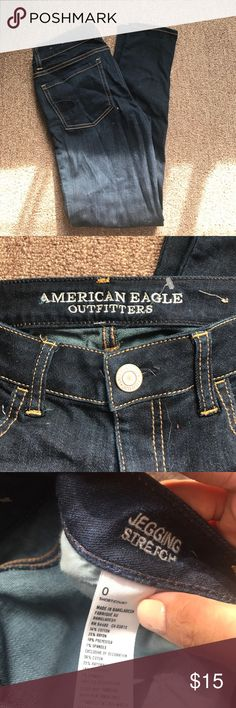 American eagle dark wash stretch jegging Brand new with no tags, never used, dark wash denim. Size 0 short.jegging style American Eagle Outfitters Jeans