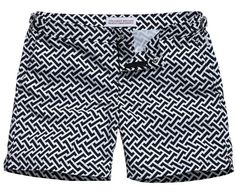 Navy & White Geometric patterned shorts by Orleybar Brown, Men's Spring Summer Fashion.
