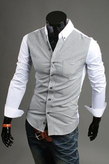 Clearance! 12.94! Men's Two Tone Gingham White Shirt