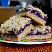 Blueberry Mazurka - A Polish wedding sweet treat, with blueberry preserves filling spiked with blueberry vodka, pressed between layers of crumbly pastry made with brown sugar, walnuts, oats, flour and butter.