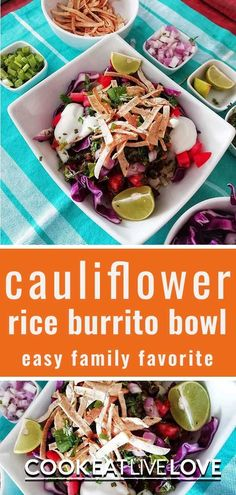 A quick and easy vegetarian recipe with lots of texmex flavor.  A great tasting healthy cauliflower rice recipe that you can meal prep for dinner or take with you for lunch. Vegetarian Bean Recipes, Vegetarian Cauliflower Recipes, Vegetarian Meal Prep, Lentil Recipes, Cauliflower Rice, Healthy Recipes, Meal Prep Menu, Dinner Entrees, Entree Recipes