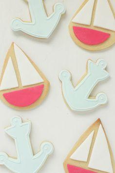 Inspired. Sailboat & Anchor Cookies for a Nautical Birthday Party @Olivia García Rendon-Kasa Cookies?