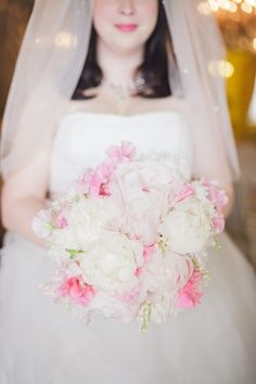 Maria mixed peonies with sweet peas to give her bouquet a vintage feel. She also included Lily of the Valley, which her mum had in her bouquet when she married Maria's dad.Click here to see all the pictures fromMaria and Dennis' day
