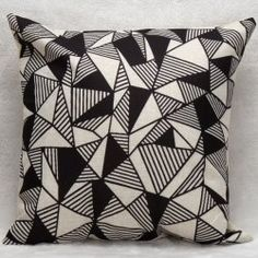 Decorative Household Triangles Combination Pillow Case - WHITE AND BLACK