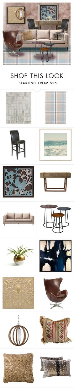 """Masculine, Not Man-Cave"" by dundiddit ❤ liked on Polyvore featuring interior, interiors, interior design, home, home decor, interior decorating, Loloi Rugs, Dash & Albert, Office Star and Moe's Home Collection"