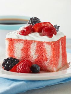 Berry Summer Poke Cake -- KOOL-AID gives fresh berries an instant glazed look as…