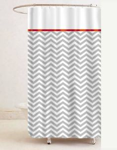 Merveilleux Grey U0026 White Chevron Shower Curtain W/ Red Trim (custom Color)