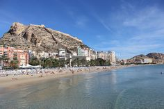 Postiguet Beach has the best back drop. Alicante Spain, Backdrops, Dolores Park, Beach, Water, Travel, Outdoor, Places, Gripe Water