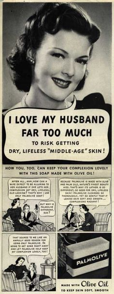 Click for vintage beauty ads that make women look stupid. #vintagebeauty