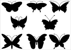 A collection of eight butterfly #silhouettes vector graphics perfect for designing anything related to butterfly. #clipart