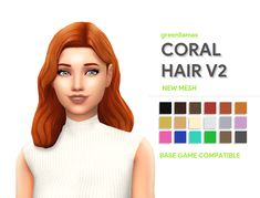 """greenllamas: """" greenllamas - CORAL HAIRS So here we are yet again with another edit of the infamous outdoor retreat hair! I needed to remake my painfully trashy Jive hair so I made this, and thanks to. Sims Four, Sims 4 Mm Cc, Sims 4 Cc Skin, My Sims, Maxis, Coral Hair, Pelo Sims, The Sims 4 Cabelos, Sims 4 Characters"""