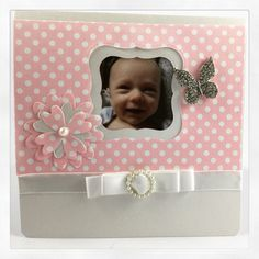 Baby announcement card girl using our die cutters, patterned papers and embellishments www.imaginediy.co.uk