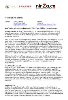 Official press release: ninZa.co and NinjaTrader