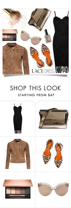 """""""Black lace dress"""" by anchilly23 on Polyvore featuring Marni, Charlotte Olympia, Clarins and Linda Farrow"""