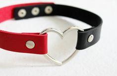 Harley Quinn Leder Herz Halskette