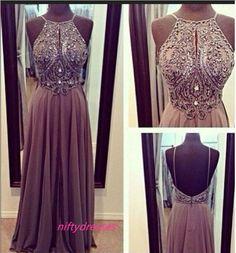 Gray Chiffon Spaghetti Straps Prom Dresses,Open Back Long Prom Dress,A-line Floor-Length Backless Grey Evening Formal Dress