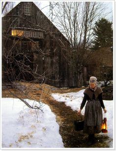 """the author's home was """"a magical place 'east of Vermont and west of New Hampshire,' caught in the year 1830, idealized yet clearly real, as the strong scent of buck goat and the drying wash that fluttered on the line in the distance attested. The weathered rambling farmhouse and outbuildings were nested into the hillside and softened by the vines, clinging roses, and lilacs that nearly engulfed them"""