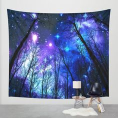 black trees purple blue space Wall Tapestry by 2sweet4words Designs | Society6