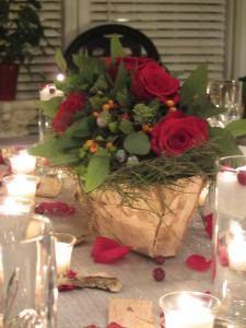 Gudrun Cottenier, Christmas centerpiece, birch and rose arrangment, winter centerpiece, Faith Flowers Studio & School, Urban Petals