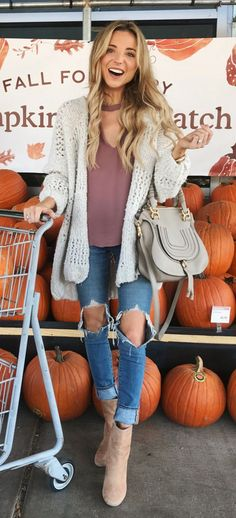 #fall #outfits women's gray cardigan and distressed blue denim jeans