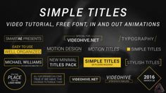 Simple Titles - Titles - After Effects Projects Blog Headers, Lower Thirds, After Effects Projects, Motion Design, Banners, Typography, Branding, Graphic Design, Tv