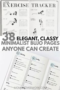 Want a MINIMALIST BULLET JOURNAL layout for inspiration? If your goal is to do more with less, then check out these stunning ideas. You'll find all kinds of collection pages include key, index, budget & finances, workout, monthly cover, habit tracker, yearly calendar, future log, daily log, weekly spreads, books to read, and more to setup your minimalist bujo. Simple header and banner ideas, monochromatic highlighting and other tips #bulletjournal #bujo #bujoing #bujoinspire #bujojunkies