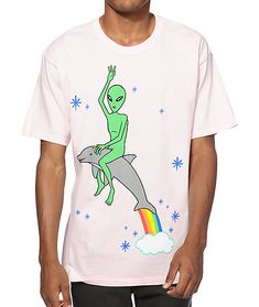 Stand out with a bright pink colorway with a tagless construction for comfort and a green alien riding a dolphin graphic on the chest.