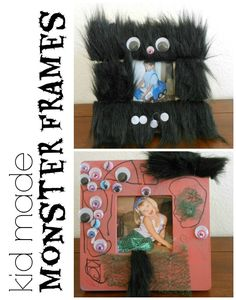 These super cute Monster Frames make for an easy homemade Halloween decoration and keepsake! Halloween Arts And Crafts, Halloween Decorations For Kids, Halloween Activities For Kids, Art Activities For Kids, Craft Projects For Kids, Holidays Halloween, Holiday Crafts, Holiday Activities, Halloween Party