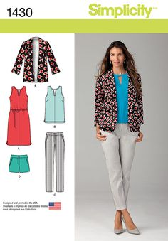 1430 Simplicity Creative Group - Misses' Slim Pants, Shorts, Dress or Top and Jacket