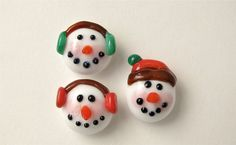 Snowman Beads  Handmade Lampwork Glass by SUZOOM on Etsy, 26.00