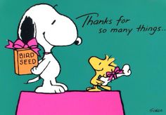 Thanks For So Many Things - Snoopy and Woodstock Giving Each Other Presents