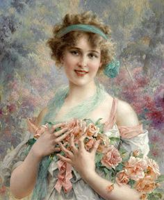 'The Rose Girl' ~ Émile Vernon was a French artist born in the mid He lived worked in London as well as in Paris. Vernon specialised in painting portraits. Images Vintage, Vintage Pictures, Vintage Postcards, Vintage Art, Vintage Ladies, Vintage Woman, Vintage Pink, Vintage Style, Beaux Arts Paris