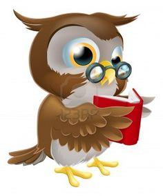 Une illustration d'un personnage de dessin animé mignon hibou sage porte des lunettes et lire un livre Banque d'images - 17174621