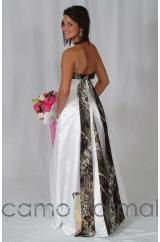 Back of a camo wedding dress
