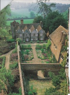 Joy of Gardening Victoria magazine often took us to England. Here we get a bird's eye view of a spectacular manor house walled garden.Victoria magazine often took us to England. Here we get a bird's eye view of a spectacular manor house walled garden.